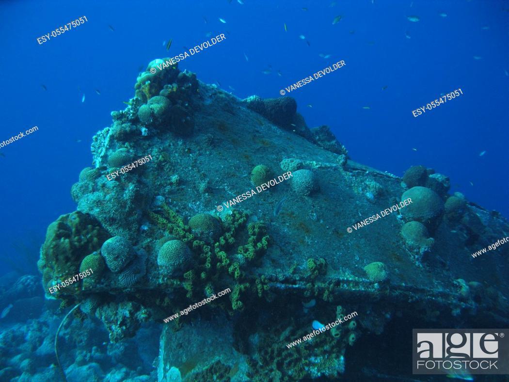 Stock Photo: Wreck in the caribbean sea around Bonaire, Dutch Antilles.