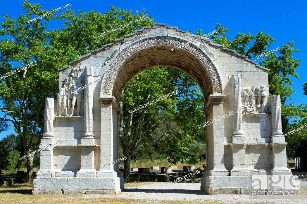 Stock Photo: Triumphal arch of Glanum, roman ruins in Saint-Remy-de-Provence, Arles district, Bouches-du-Rhône department, Provence-Alpes-Côte d'Azur region, France, Europe.