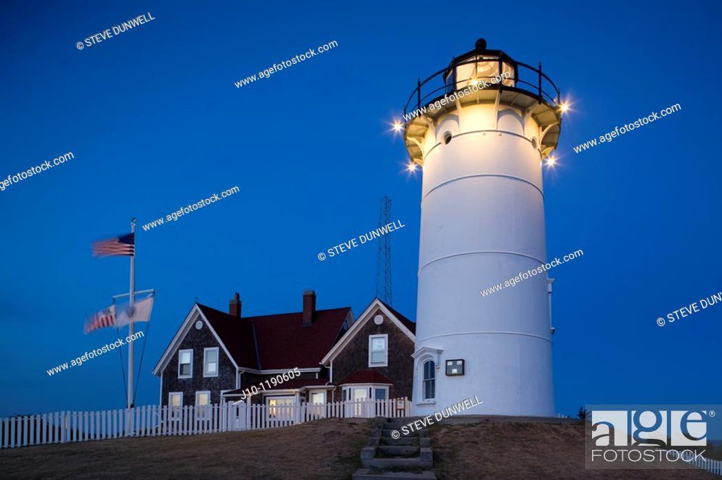Stock Photo: Nobska Lighthouse 1876, Woods Hole, Massachusetts, USA.