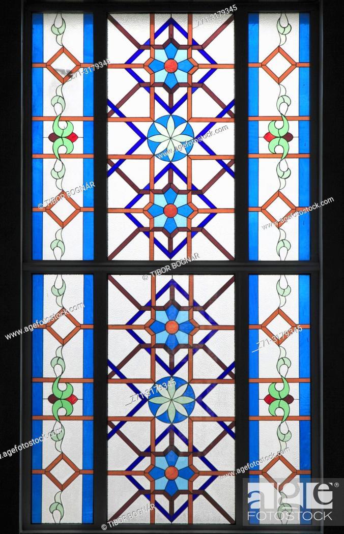 Stock Photo: Kazakhstan; Astana; Hazrat Sultan Mosque, interior, window, .