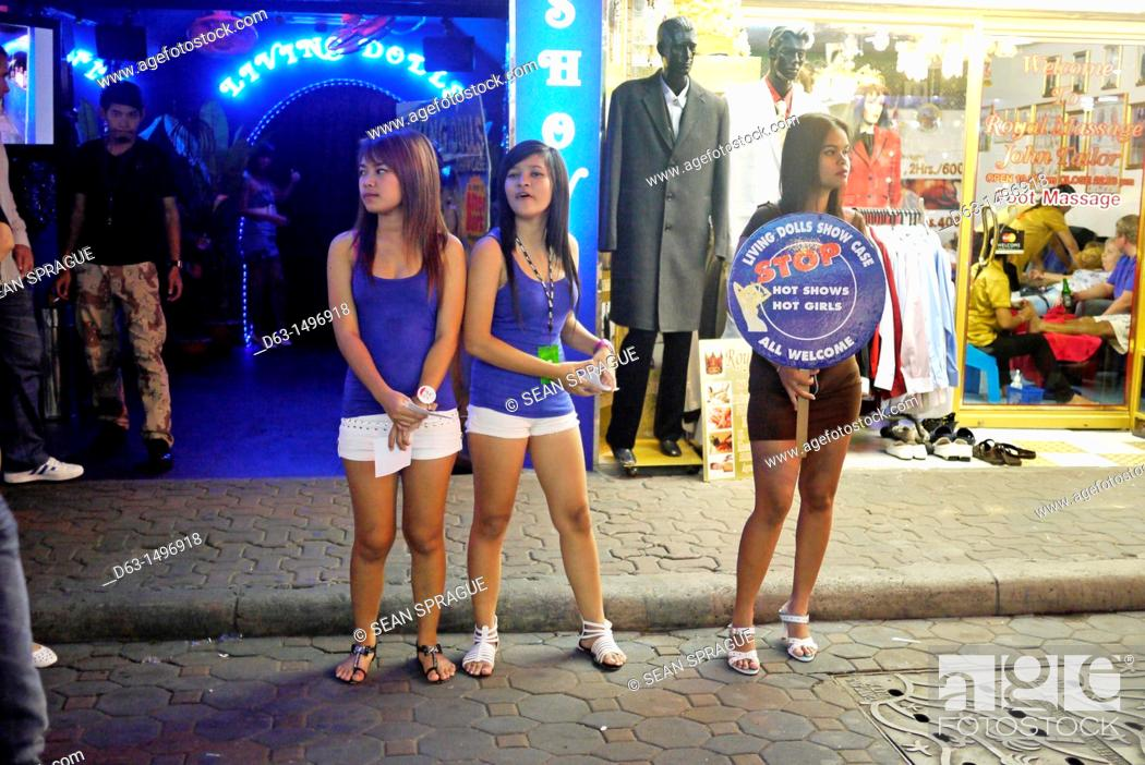 Stock Photo - Girls outside a bar, Pattaya beach resort and centre for sex  tourism, Thailand