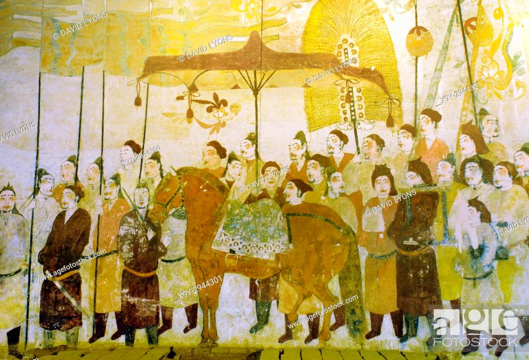 Stock Photo: Ancient mural painting of the Tomb Occupants Going Out. Northern Qi Dynasty. From the Tomb of Xu Xianxiu at Wangjiafeng, Taiyuan City, Shanxi, China.