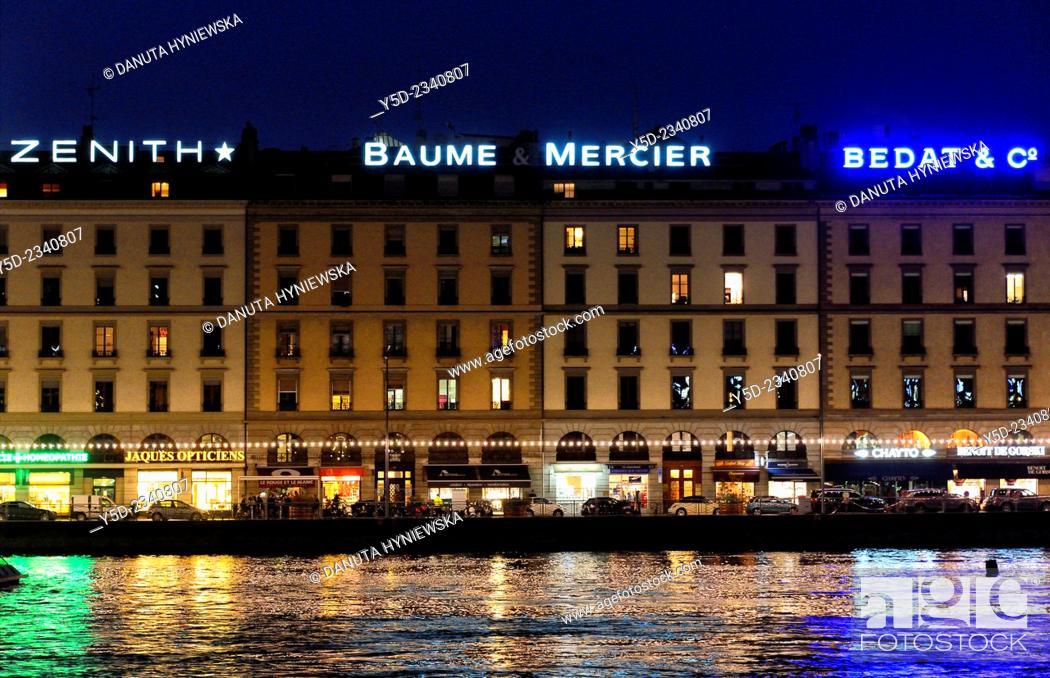 Stock Photo: Rhone river and downtown of Geneva by night, Switzerland.