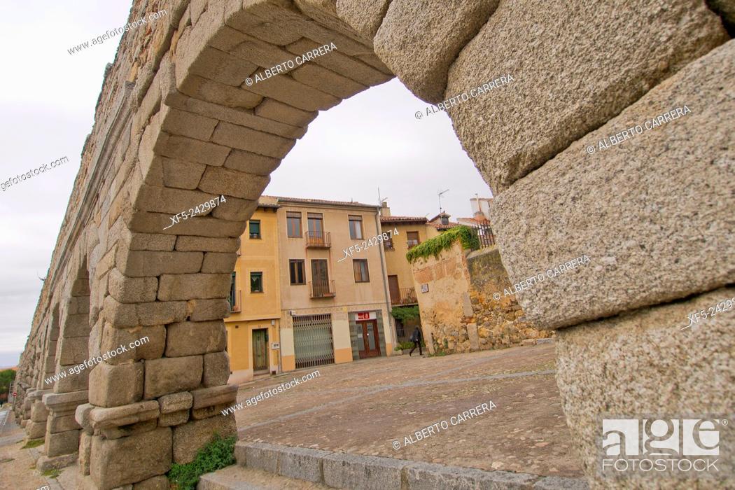 Stock Photo: Roman Aqueduct of Segovia, World Monument Fund, Segovia, World Heritage Site UNESCO, Castilla y León, Spain, Europe.