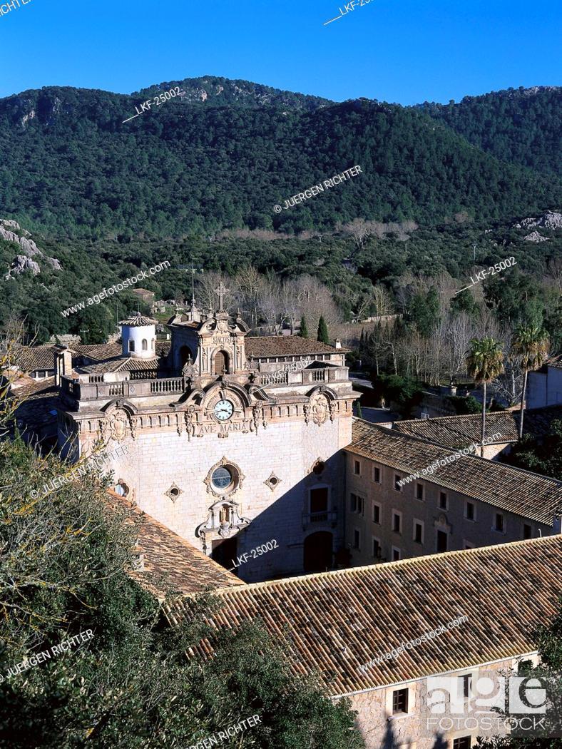 Stock Photo: Lluch Monastry, Serra de Tramuntana, Majorca, Spain.