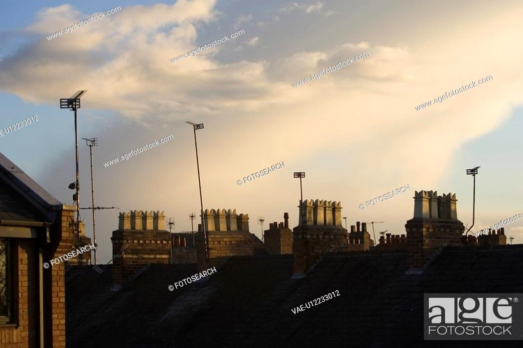 Stock Photo: Cloud, Building, Chimney, Building Structure, Building Exterior, Antenna.