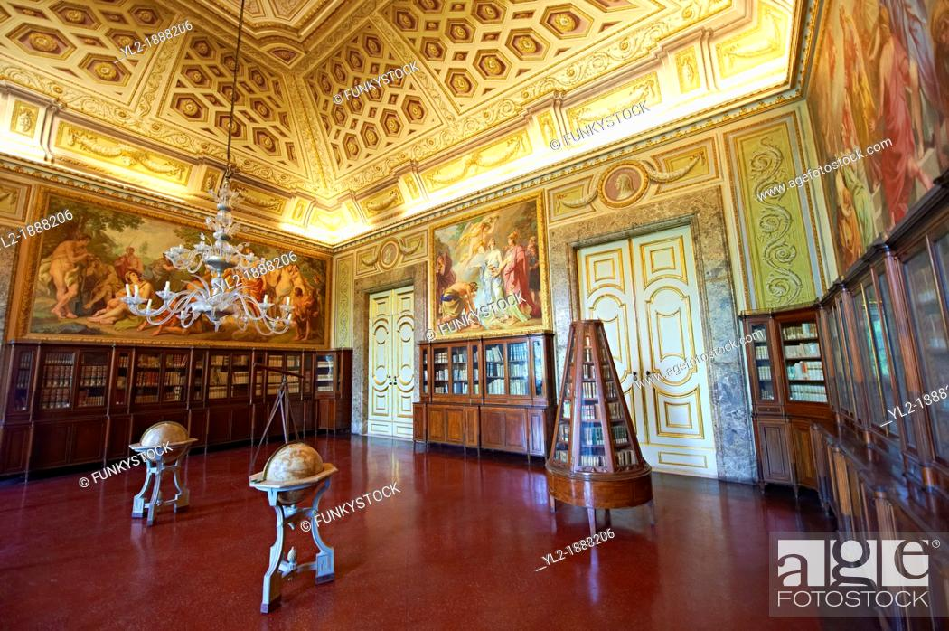 Stock Photo: Third Room of The Library  Queen Mary Caroline commissioned German painter Freidrich Heinrich Fuger to decorate the Third Library Room  The paintings on the.