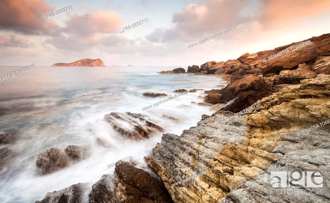 Stock Photo: Coast of Ibiza and S'Espartar island, Ibiza, Balearic Islands, Spain.