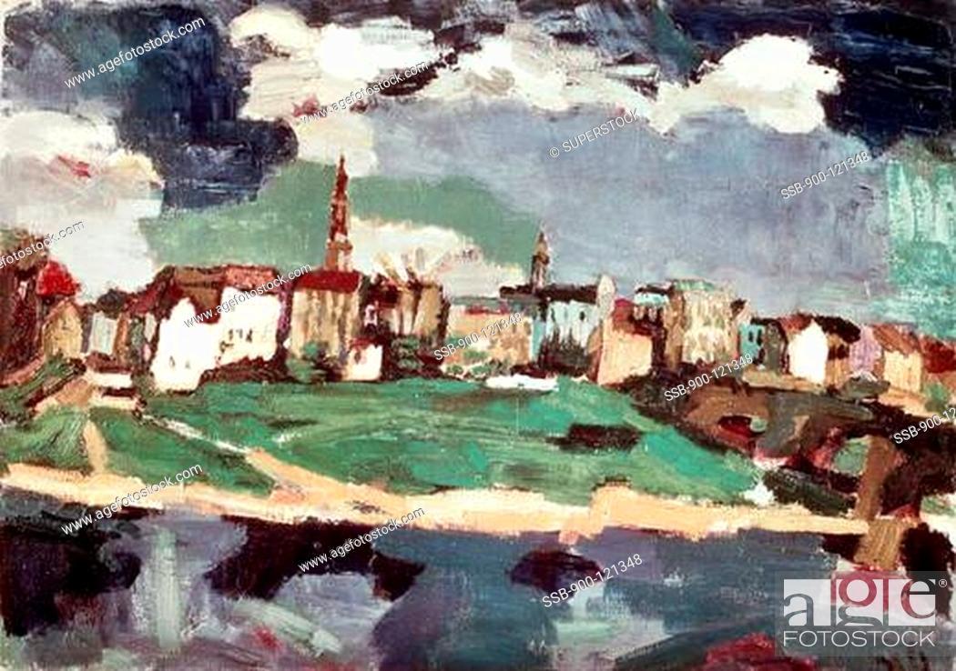 Stock Photo: New City Of Dresden Iii, Kokoschka, Oskar 1886-1980/Austrian, Marlborough Fine Arts Ltd. Collection, London.