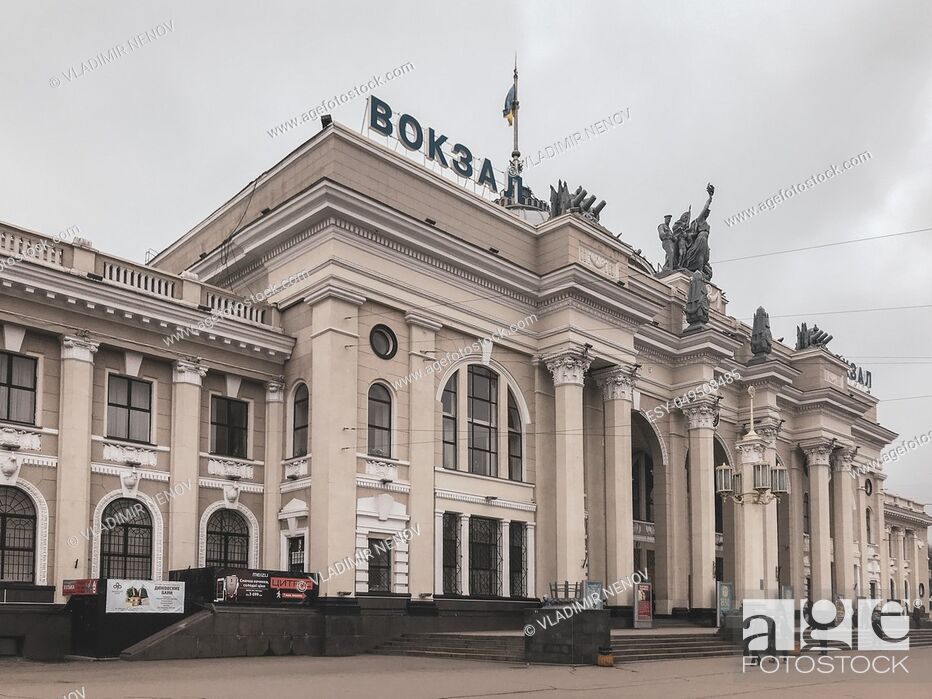 Stock Photo: Odessa, Ukraine: Odessa Railway Station. It was damaged in 1944 during World War II and was rebuilt in 1952. It is situated in the city center of Odessa.