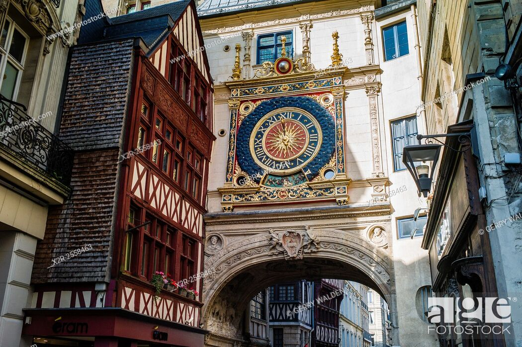 Stock Photo: The Renaissance Gros Horologe is situated in the Rue du Gros Horologe in Rouen, Normandy. Its original movement dates back to 1389. g.