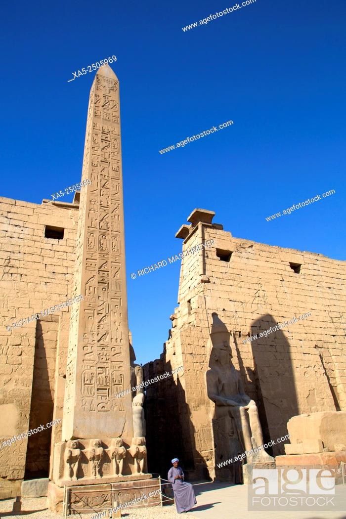 Stock Photo: Obelisk (25 Meters High) in Front of Plyon (65 Meters wide), Luxor Temple, Luxor, Egypt.