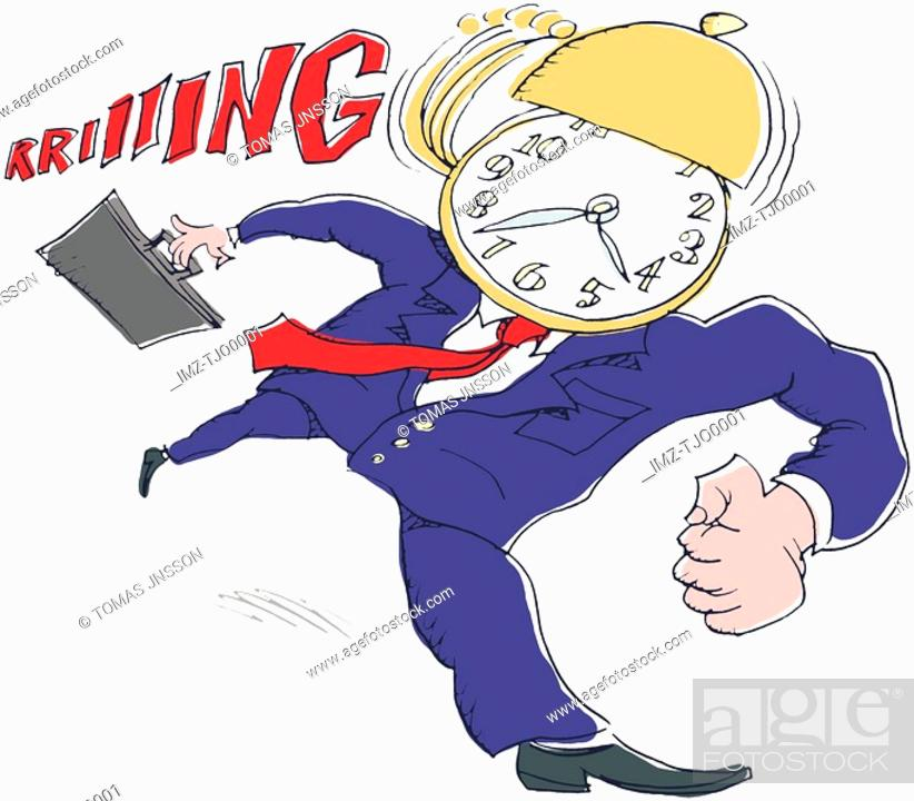 Stock Photo: A man rushing as he is running out of time.
