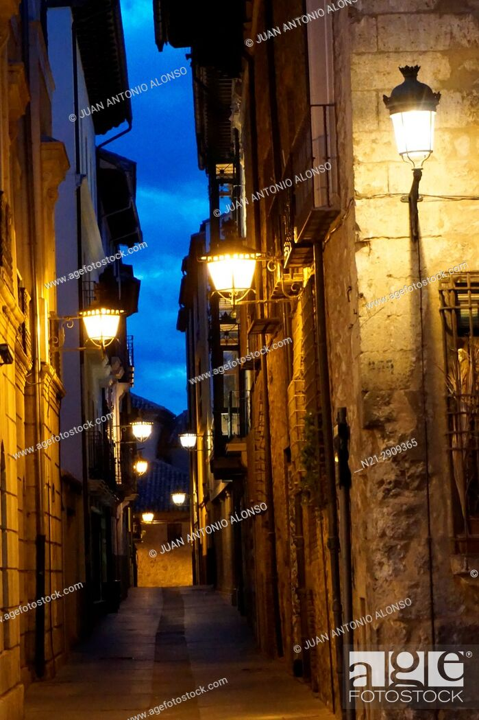 Stock Photo: Old street at the Plaza del Torico at night. Teruel, Aragón, Spain, Europe.