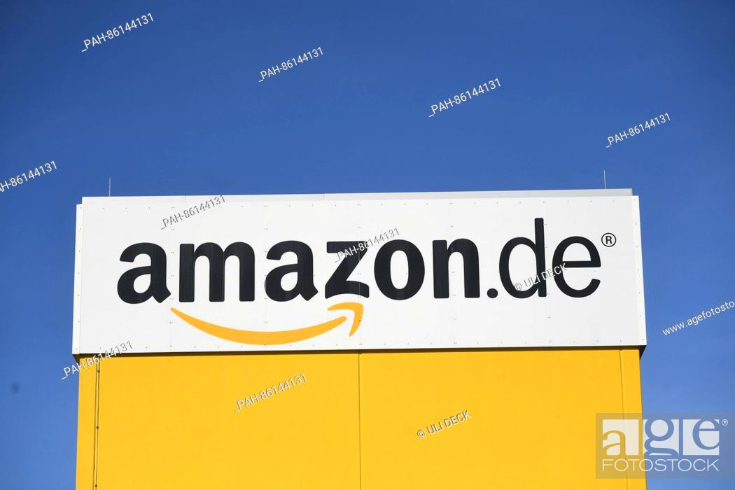 3c1eb04d3f8 Stock Photo - An Amazon logo at the Amazon logistics centre in Pforzheim
