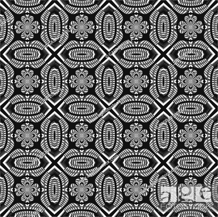 Stock Vector: Monochrome maze pattern. Algorithmic geometric pattern. Graphic design.