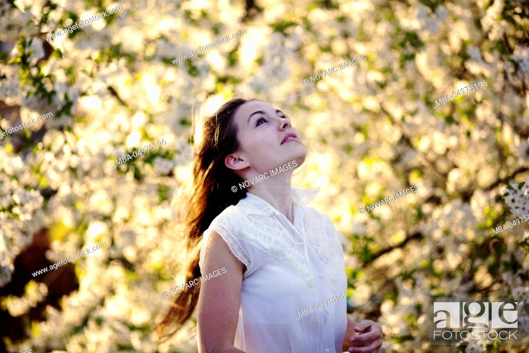 Stock Photo: Portrait of a young woman with cherry blossoms.