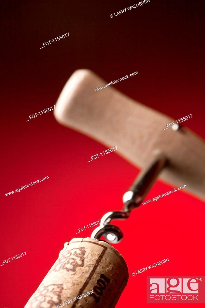 Stock Photo: Corkscrew in cork.