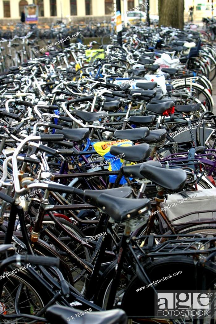 Stock Photo: parking place for bicycles, park and ride, Germany, Osnabrueck.