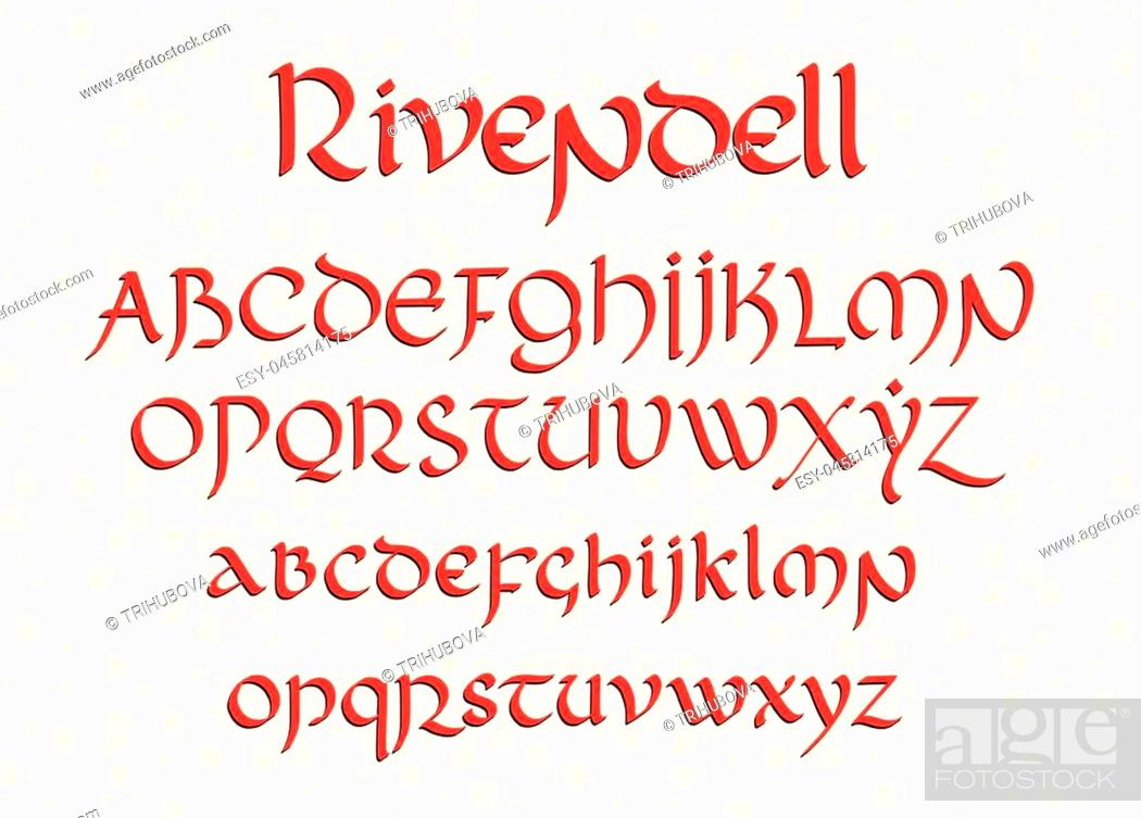 Stock Vector: Blackletter gothic uncial hand-drawn font. Decorative vintage magic styled letters. Rivendell vector script.