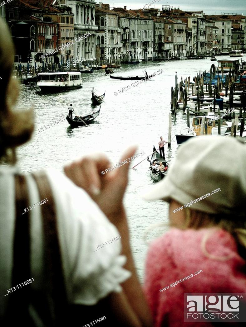 Stock Photo: Grand Canal seen from Rialto Bridge, Venice, Veneto, Italy.