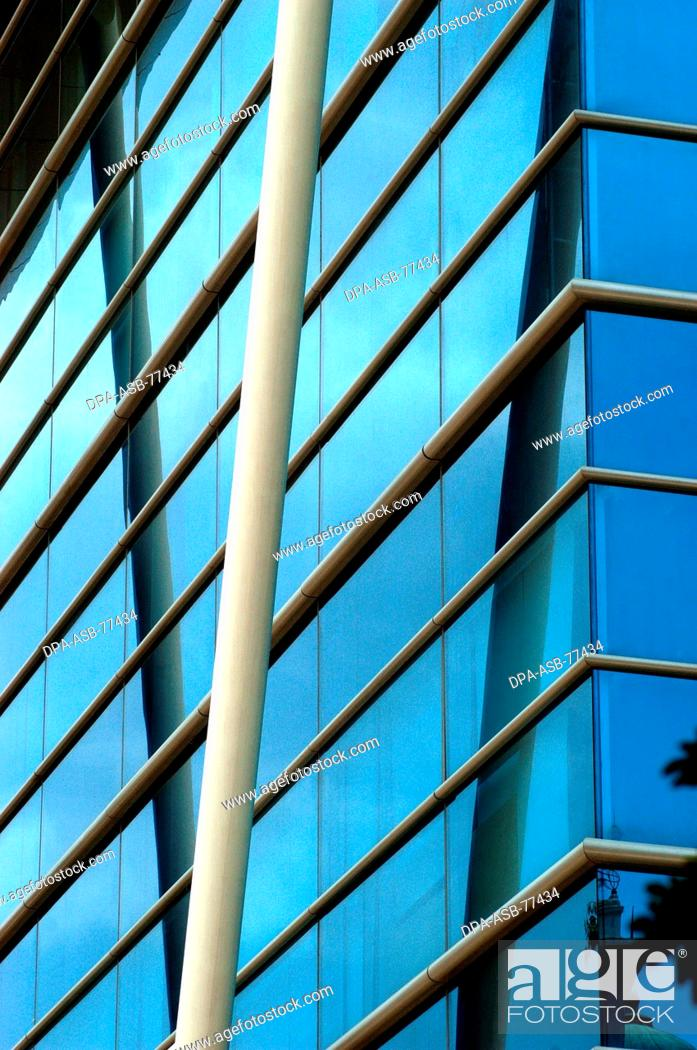 Horizontal and diagonal steel girders used in the exteriors of RMZ