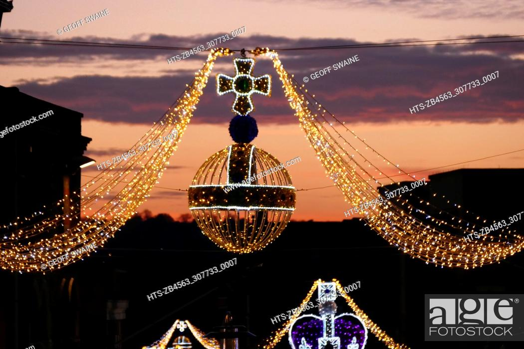 Stock Photo: Windsor Town is decorated with crown and orb lights above the High Street 19 Nov 2017                         Christmas Lights, Windsor, Berkshire.