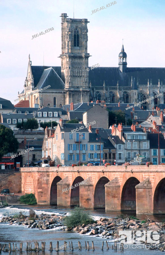 Stock Photo: Bridge in front of athedral Saint-Cyr-et-Sainte-Juliette Nevers Burgundy France.