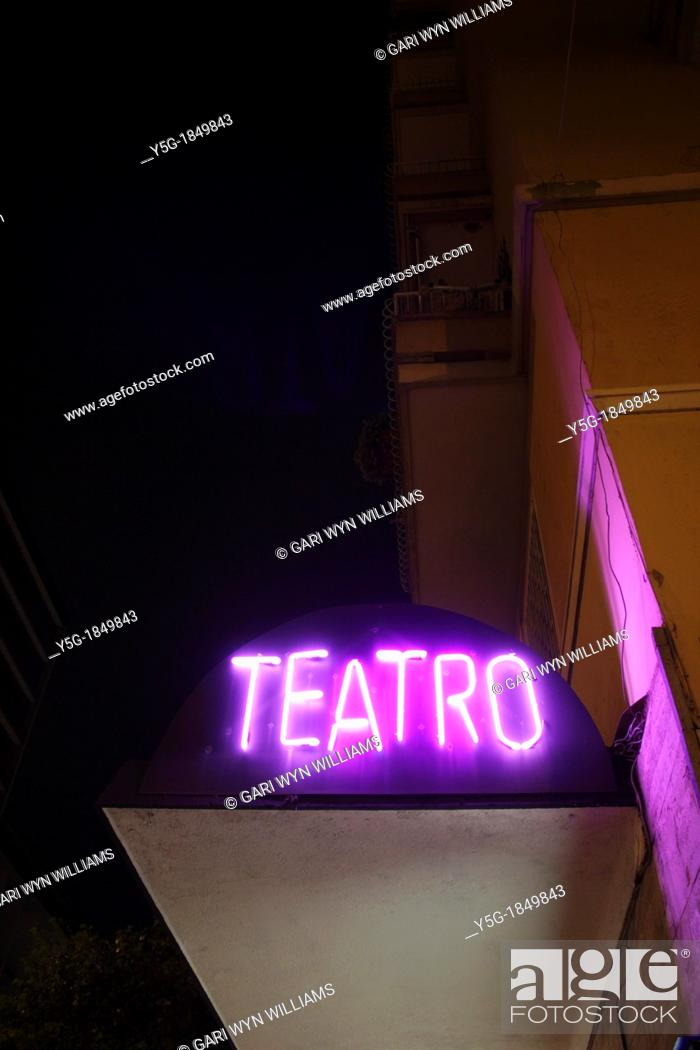 Stock Photo: neon theatre sign in rome italy.