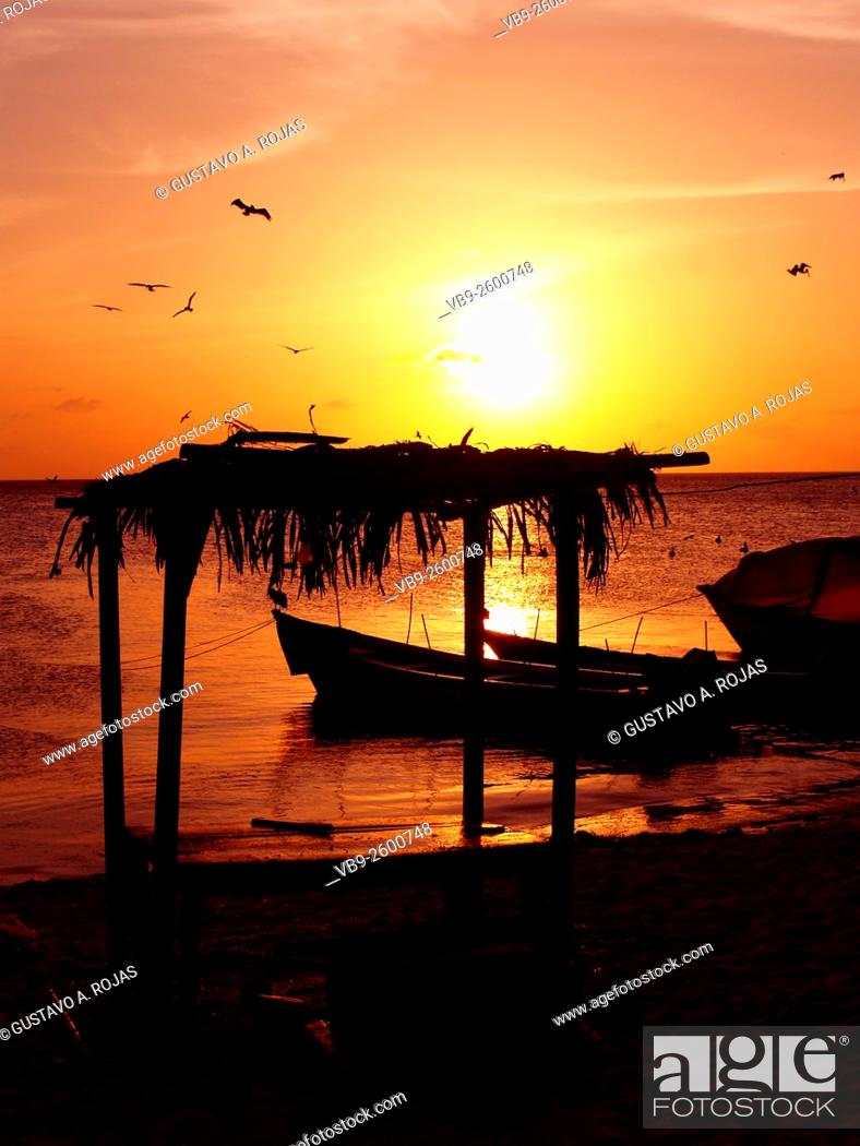 Stock Photo: los roques spring sunset in Venezuela.