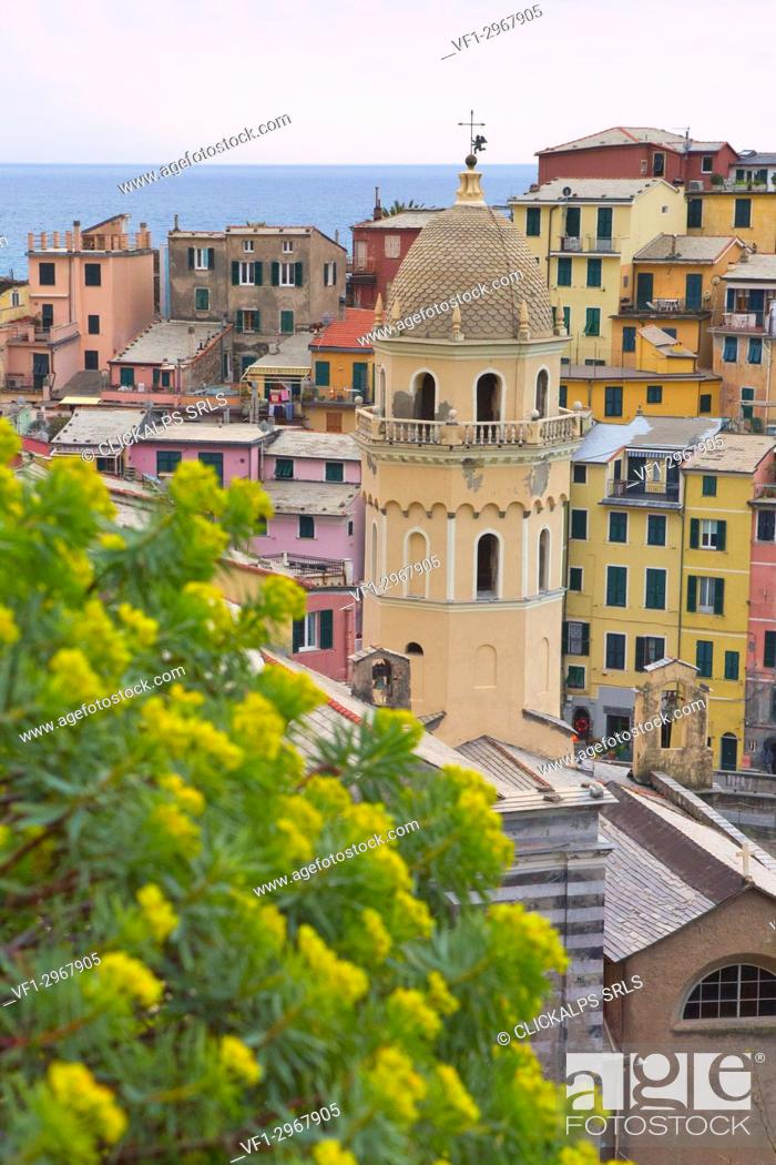 Stock Photo: Bell Tower of Vernazza , La Spezia , Liguria , North italy , Italy.
