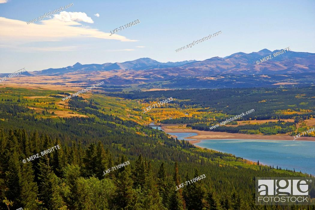 Stock Photo: <Two Medicine River> flowing into <Two Medicine Lake> , Glacier National Park , Montana , U.S.A. , America.