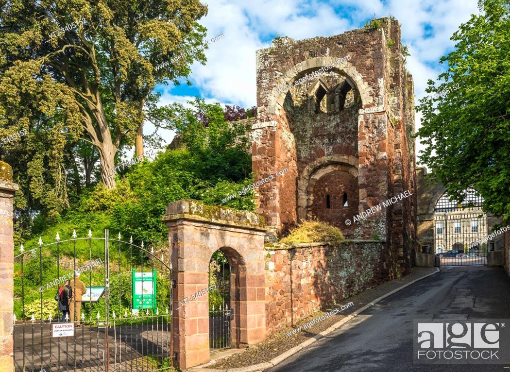 Stock Photo: Entrance to Rougemount Castle, Exeter, Devon, England, UK.