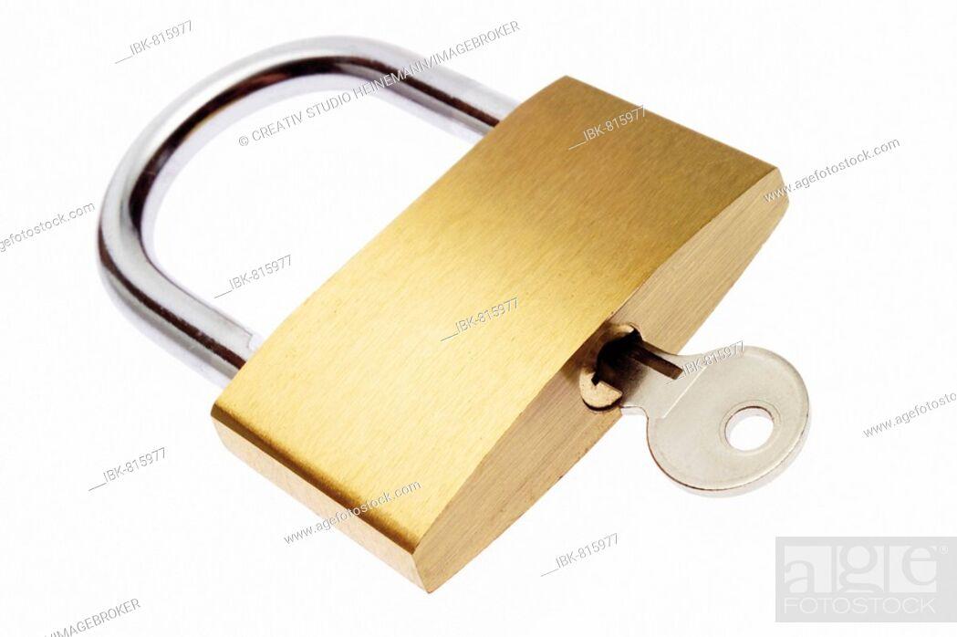 Photo de stock: Padlock with key.