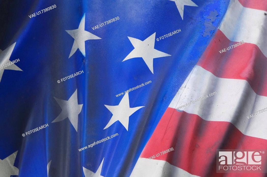Stock Photo: Blue, Fold, Fabric, Close-Up, American Flag.