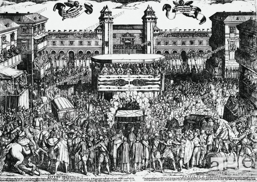 Stock Photo: View of Piazza del Castello, Turin, during the ostension of the Holy Shroud, 4th may 1613, by Antonio Tempesta (1555-1630) engraving.