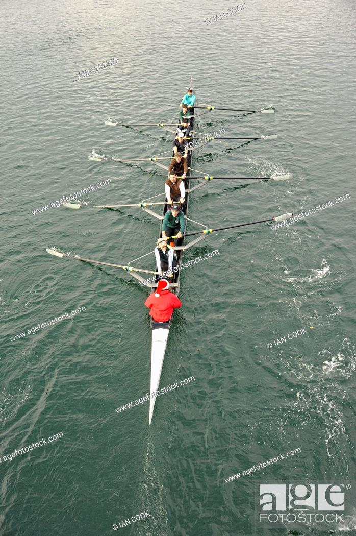 Stock Photo: Rowing team in the Gorge waterway, Victoria, British Columbia, Canada.