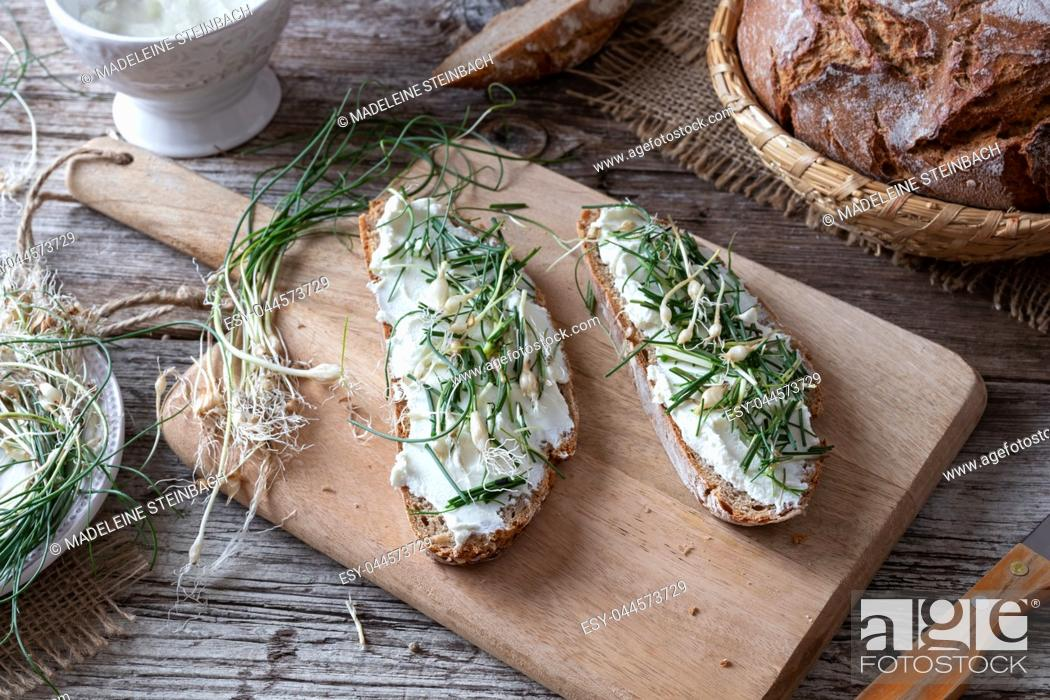 Stock Photo: Sourdough bread with cottage cheese and wild allium vineale, or crow garlic, on a table.