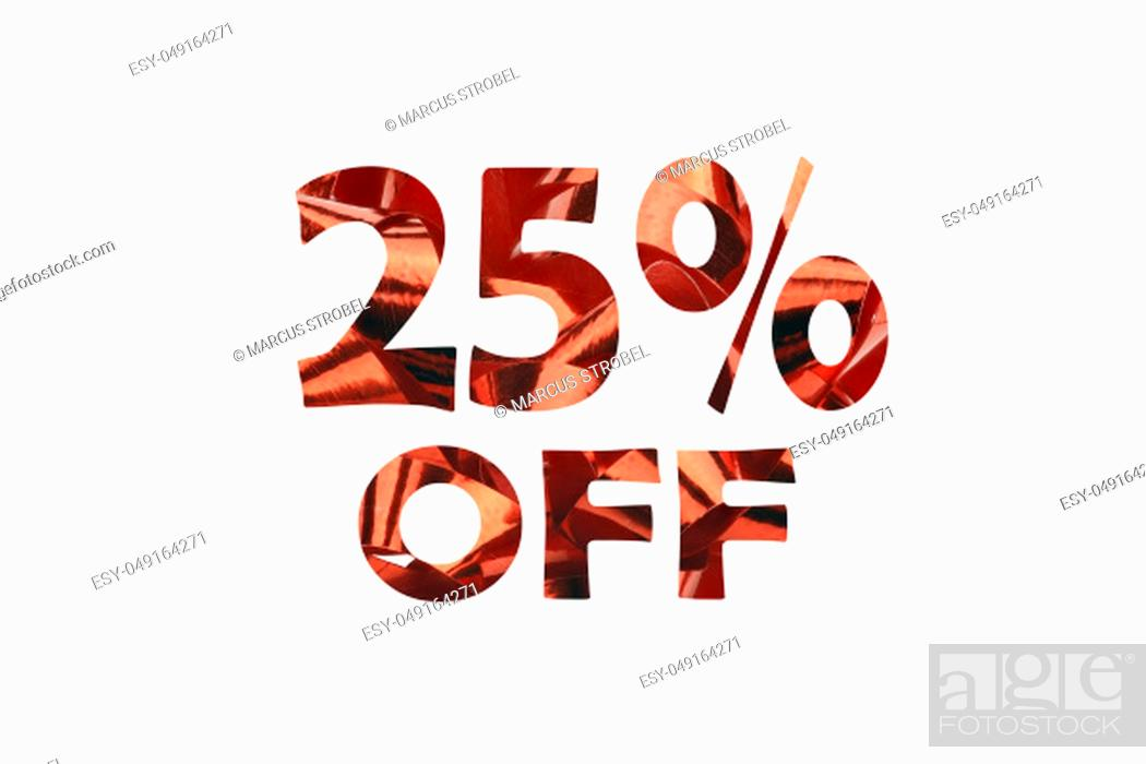 Stock Photo: Cut out text 25% off from a macro shot of red gift ribbon - isolated on white.