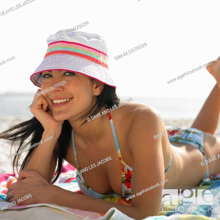 Stock Photo: Portrait of woman at beach.
