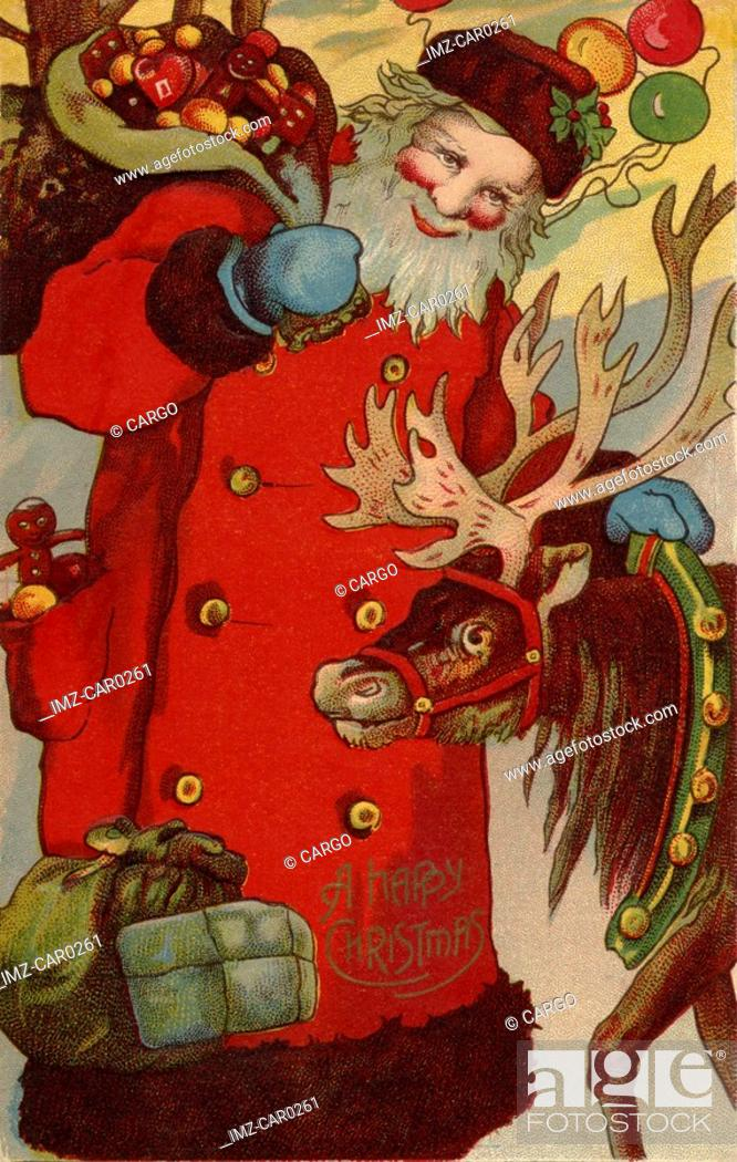 Stock Photo: Vintage Christmas postcard of Santa Claus holding a sack of fruit, with his reindeer.