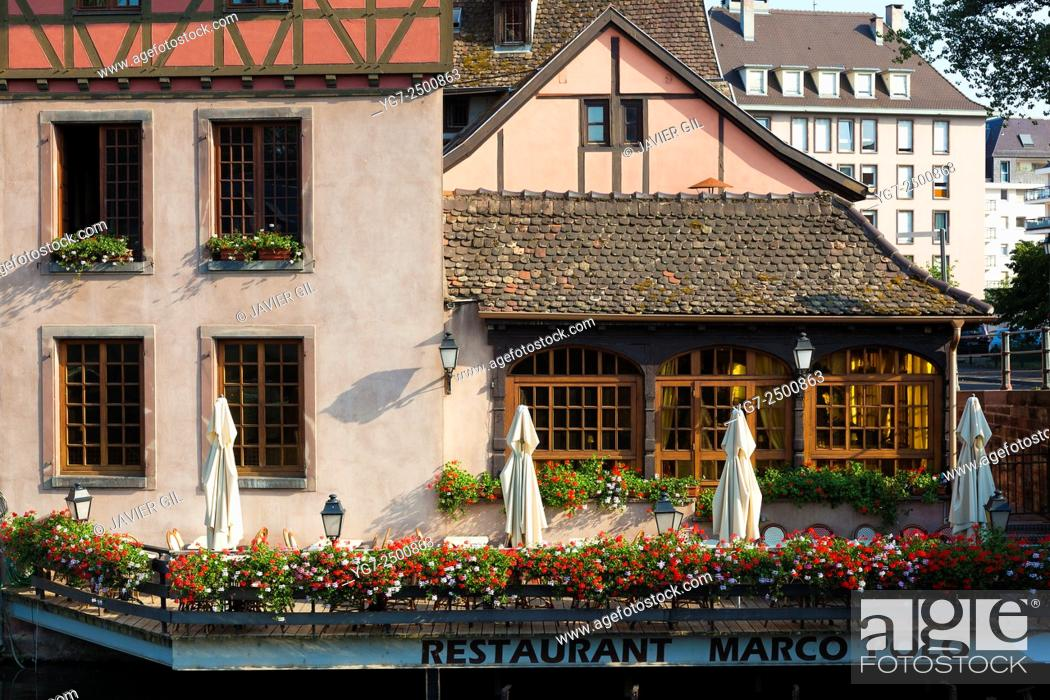 Stock Photo: 'Marco Polo' restaurant in Strasbourg, Bas-Rhin, Alsace, France.