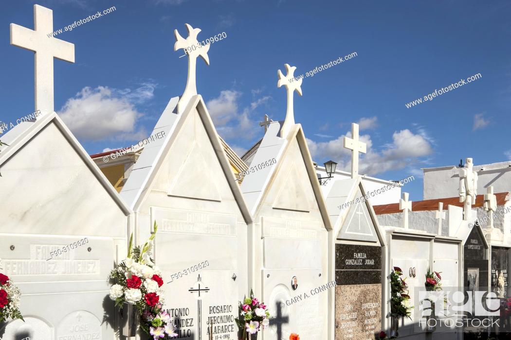 Stock Photo: Mausoleums at Cemetery on Dia de Todos los Santos (All Saints' Day), in Salobreña, Granada, Spain.