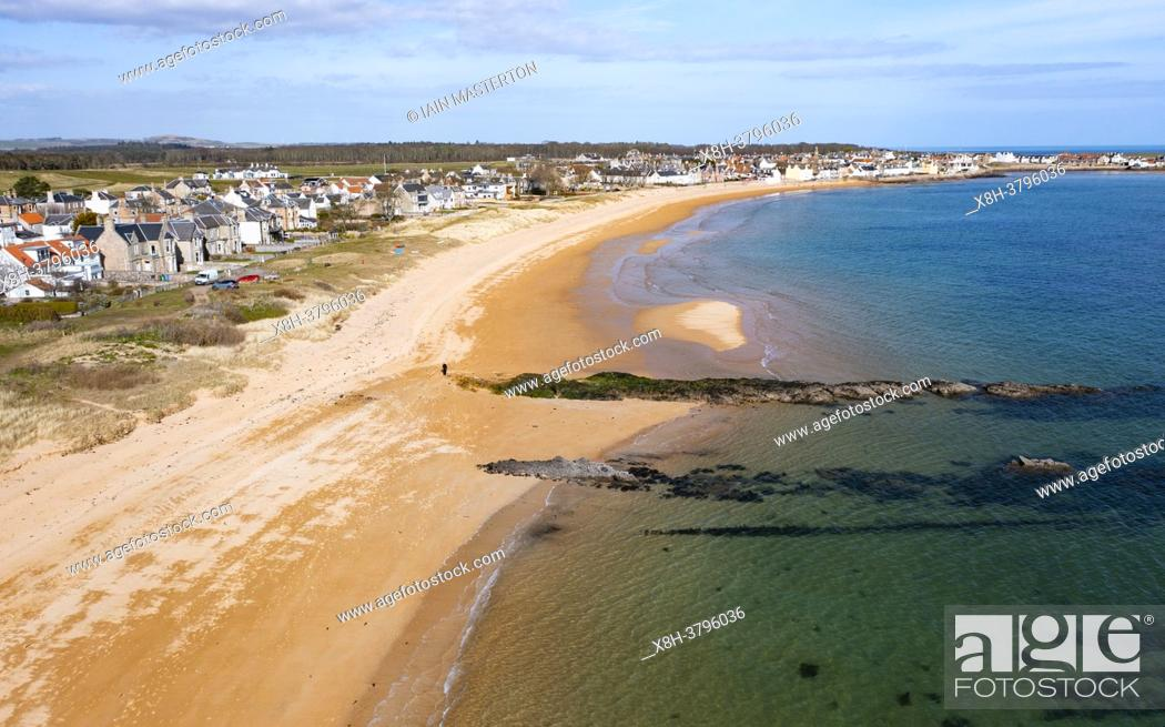 Stock Photo: Aerial view of beach at Earlsferry and Elie on the East Neuk of Fife, in Scotland, UK.