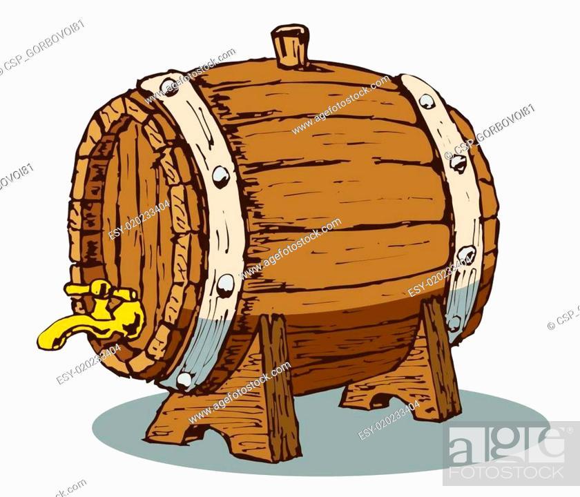 Stock Vector: wooden barrel.