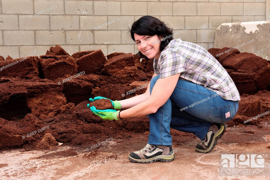 Stock Photo: woman working in the garden center, composting,.