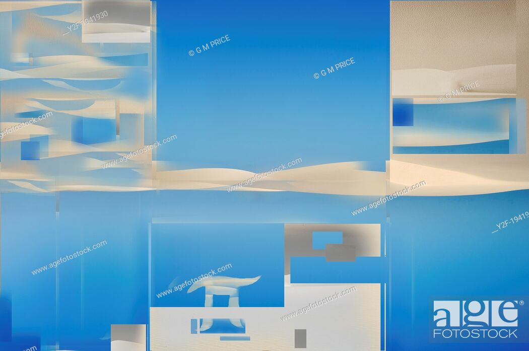 Stock Photo: digitally manipulated sand dunes and blue sky, NSW coast, Australia.