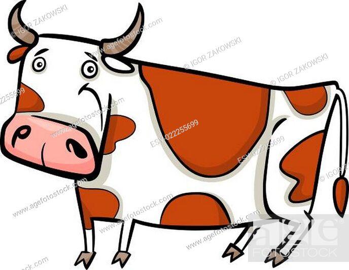 Stock Photo: cartoon illustration of farm cow.