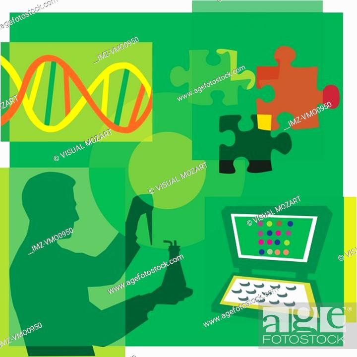 Stock Photo: Montage illustration about DNA research containing a scientist, DNA, puzzle pieces and a computer.