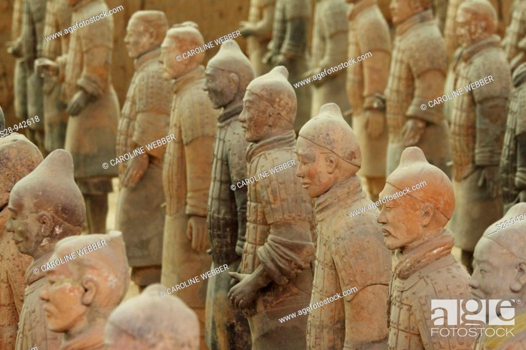 Stock Photo: Rows of Terra Cotta Warriors in Xi'an China.